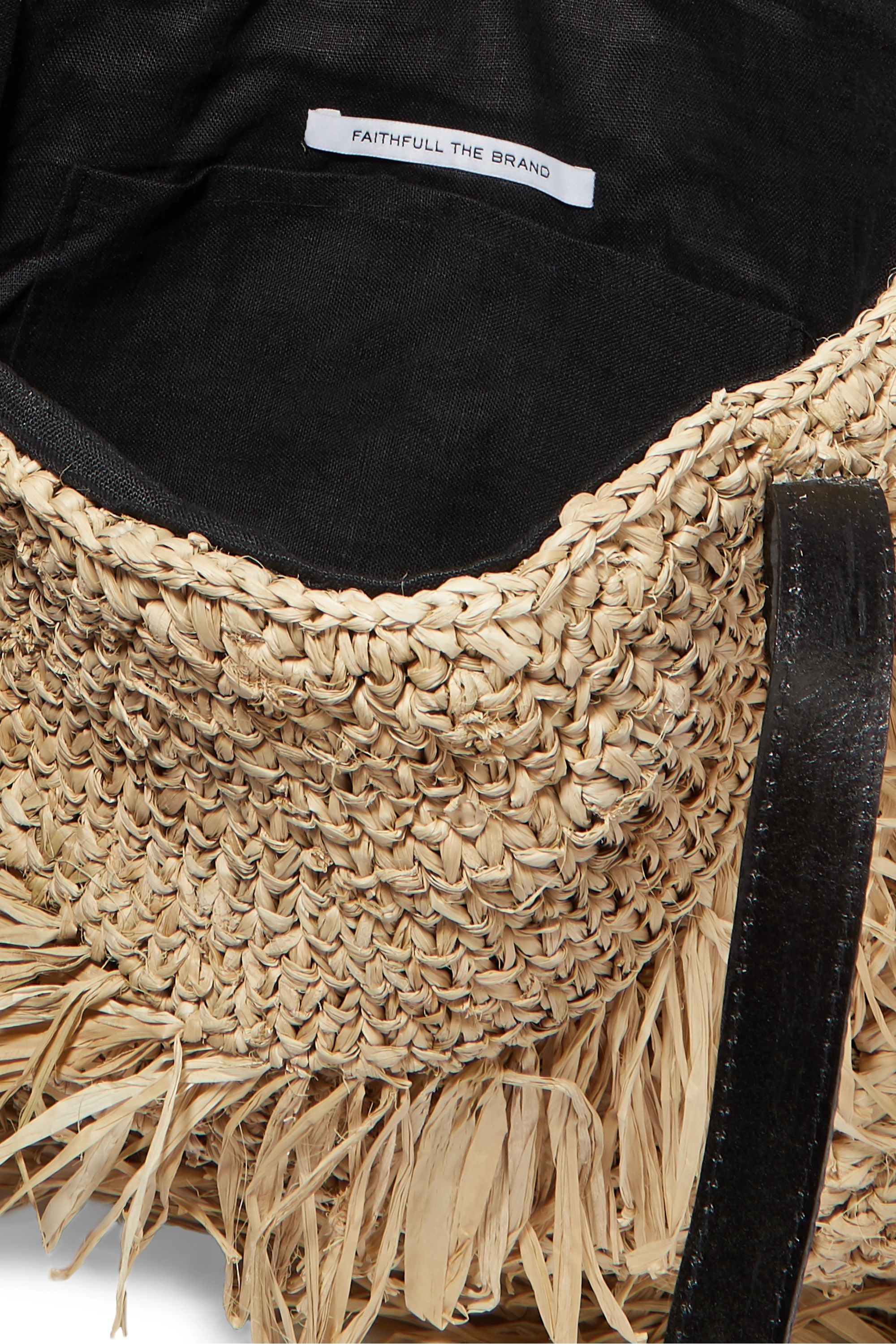Faithfull The Brand Monikha leather-trimmed fringed raffia tote