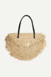Monikha leather-trimmed fringed raffia tote