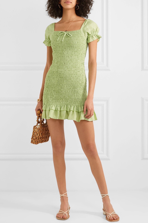 Faithfull The Brand Cette shirred linen mini dress