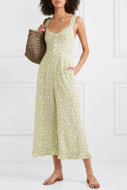 Bodhi cropped shirred floral-print crepe jumpsuit