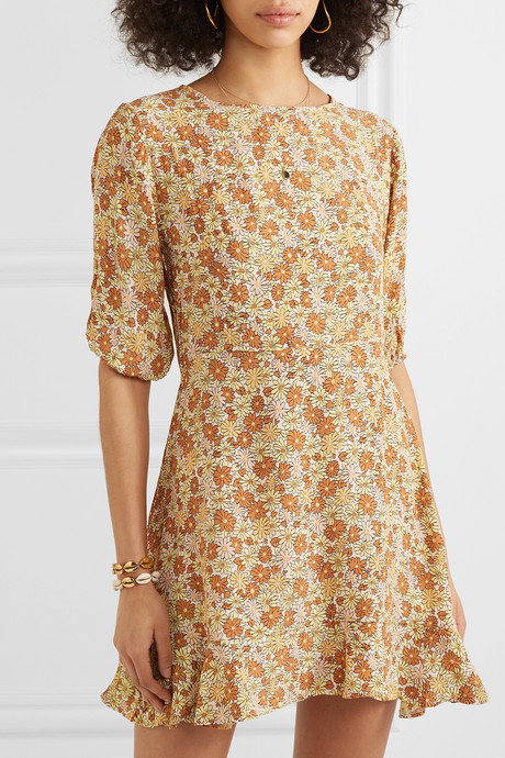 Jeanette floral-print ruffled crepe mini dress