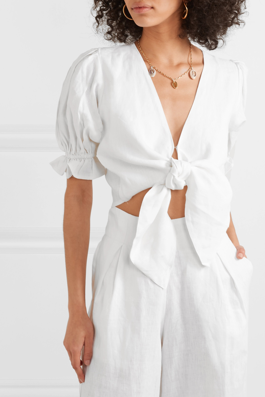 Faithfull The Brand Jamais cropped tie-front linen top