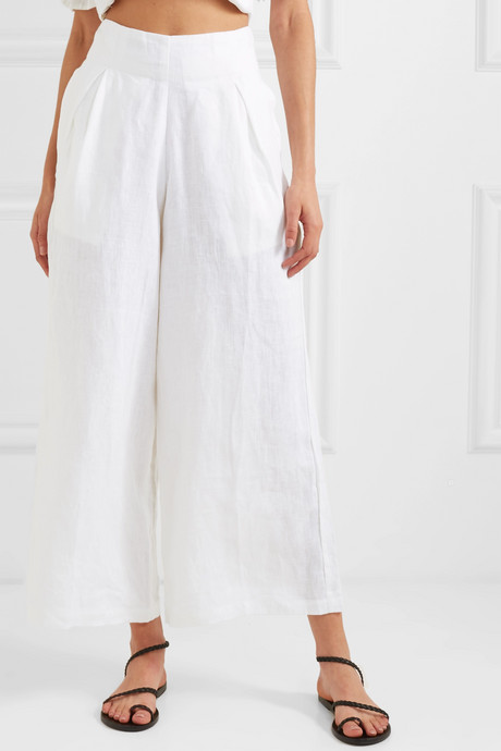 Meridian cropped linen wide-leg pants