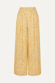 Faithfull The Brand Opal cropped snake-print crepe wide-leg pants