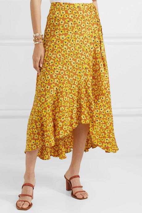 Jasper floral-print crepe wrap skirt