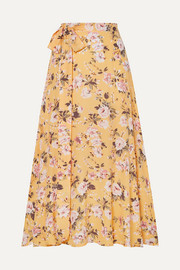 Asiya belted floral-print crepe wrap-effect midi skirt