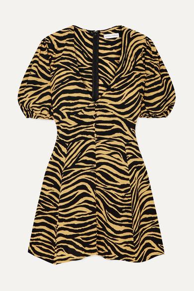 Ilia Zebra Print Crepe Mini Dress by Faithfull The Brand