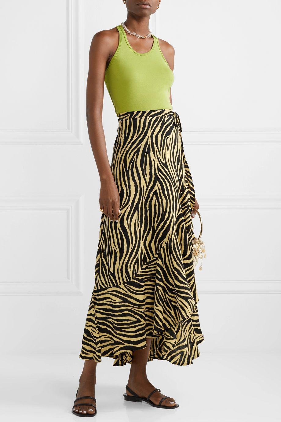 Faithfull The Brand Jasper zebra-print crepon wrap skirt