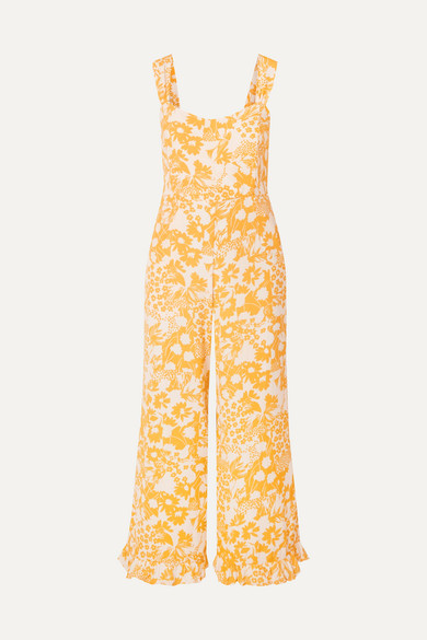 Kasbah Ruffled Floral Print Voile Jumpsuit by Faithfull The Brand