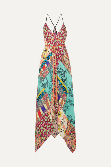 Asymmetric Printed Silk Crepe De Chine Dress by Etro