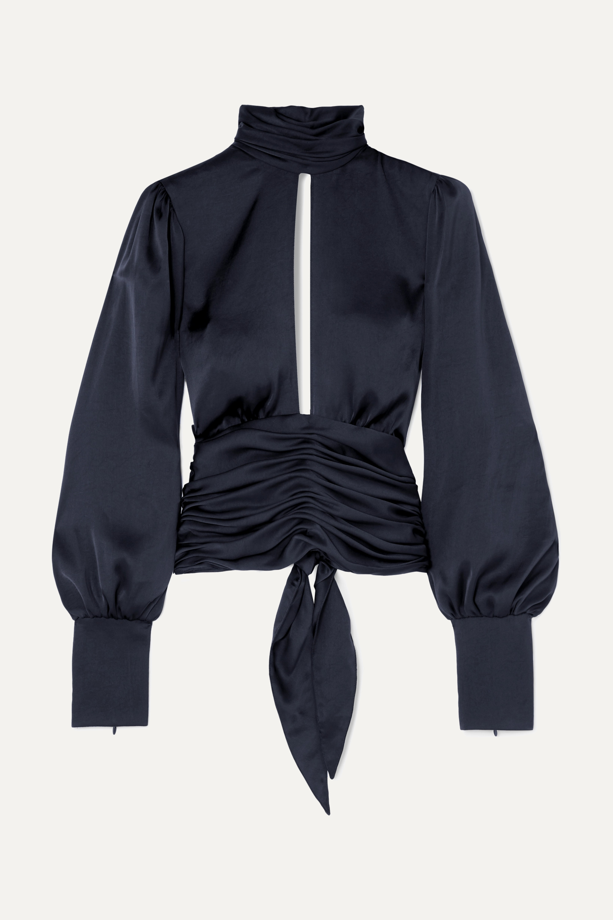 Orseund Iris Night Out open-back ruched satin blouse