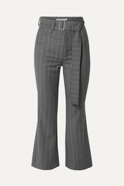 Cropped belted pinstriped wool-blend flared pants