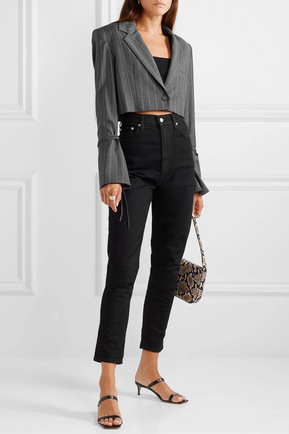 Orseund Iris Box 细条纹羊毛混纺短款西装外套