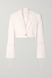 Box cropped pinstriped wool-blend blazer