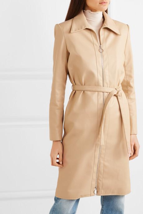 Belted vegan leather jacket