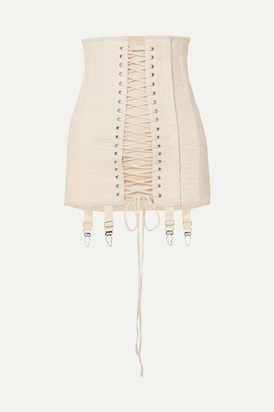 Gamine lace-up cotton-twill mini skirt