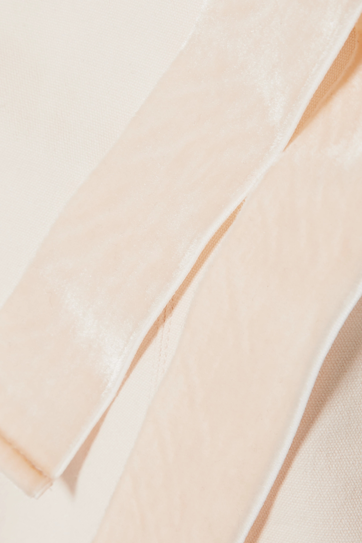 Orseund Iris Velvet-trimmed cotton-canvas bustier top