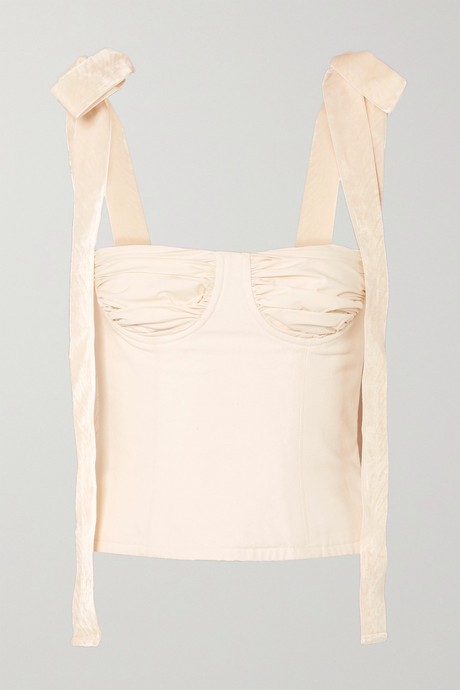Orseund Iris Velvet-trimmed cotton-canvas bustier top