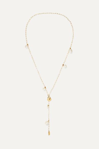 LOREN STEWART | Loren Stewart - Shapeshifter Gold Pearl Necklace - One Size | Goxip