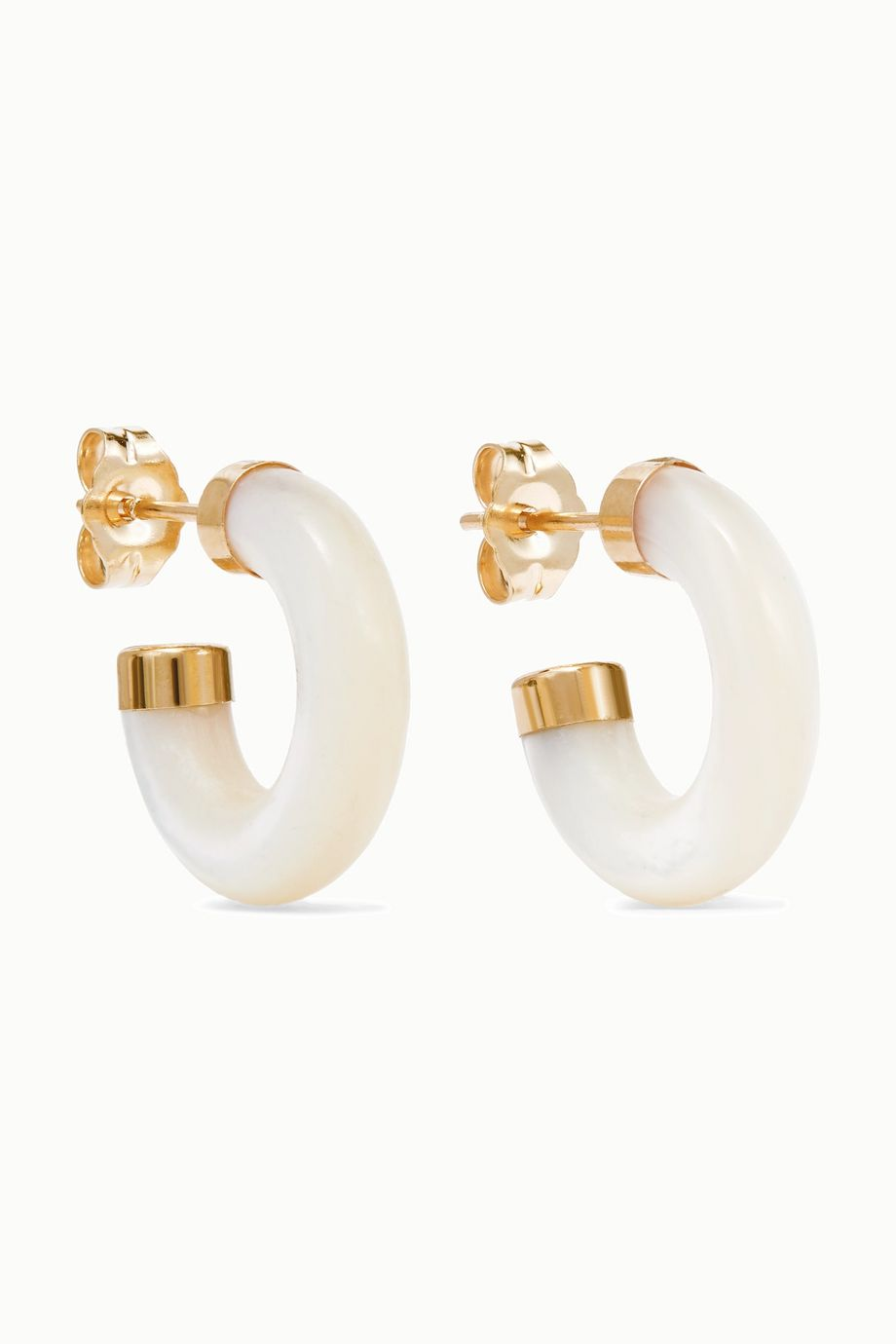 Loren Stewart Stone gold mother-of-pearl hoop earrings