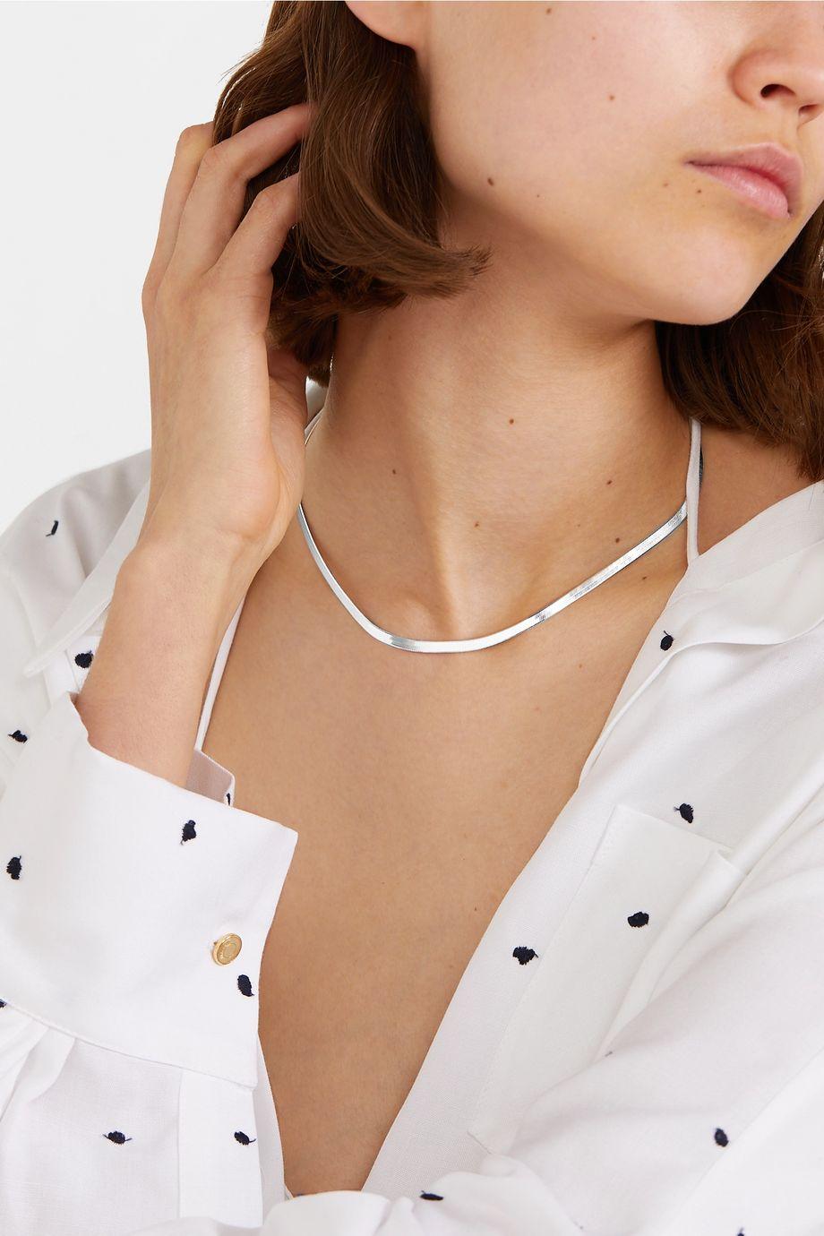 Loren Stewart Herringbone silver necklace