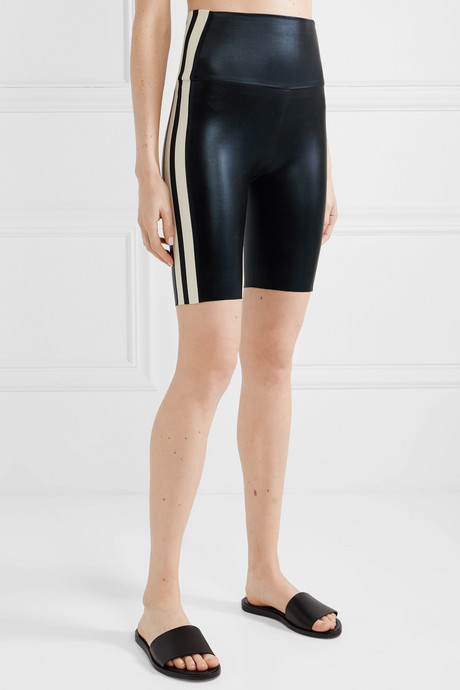 Striped coated stretch-jersey shorts