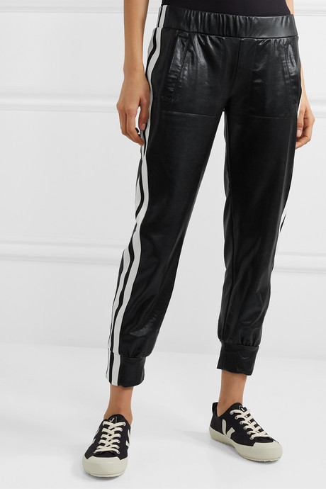 Neoprene-trimmed coated jersey track pants