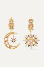 Gold-plated enamel, amethyst and pearl earrings