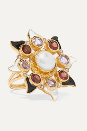 Gold-plated and enamel multi-stone ring
