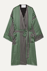 Polka-dot silk-satin robe