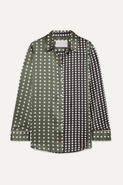 Polka-dot silk-satin pajama shirt