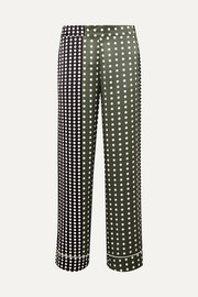 Polka-dot silk-satin pajama pants