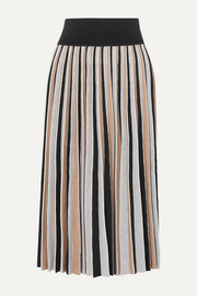 Agnona Pleated wool-blend midi skirt
