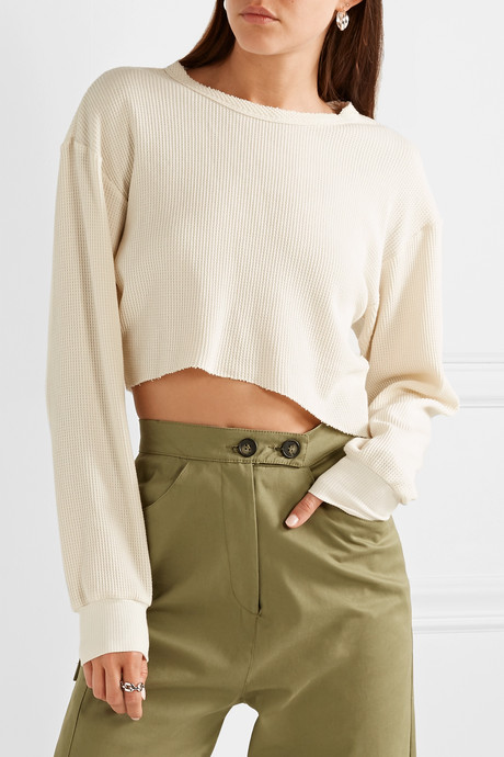 Everest cropped asymmetric waffle-knit jersey top