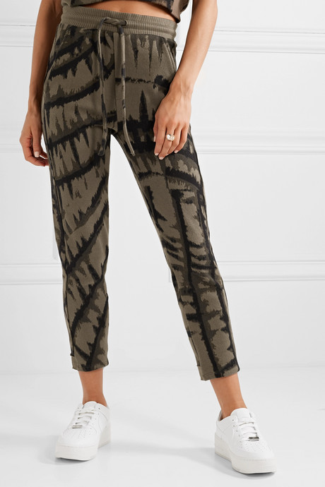 Hyper Reality cropped tie-dyed cotton-blend jacquard track pants