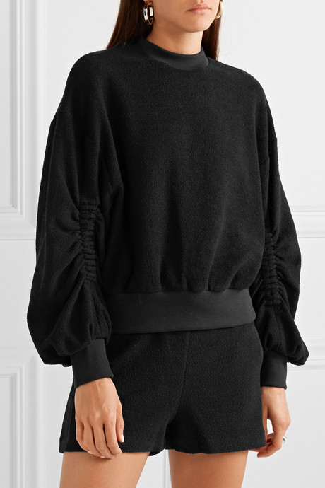 Sunnyside ruched cotton-blend terry sweatshirt