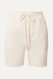 Pride satin-trimmed French cotton-blend terry shorts
