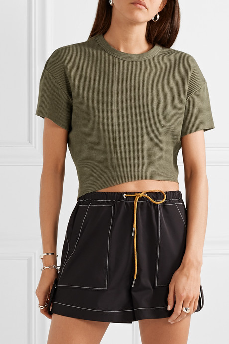 Everest cropped asymmetric waffle-knit jersey T-shirt