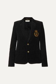 Appliquéd cotton-corduroy blazer