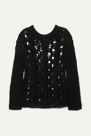 SAINT LAURENT Distressed open-knit sweater