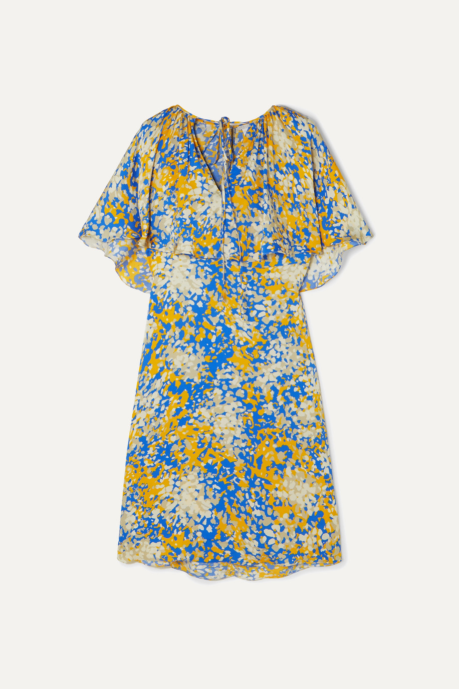 Stella McCartney + NET SUSTAIN printed cape-effect crepe midi dress