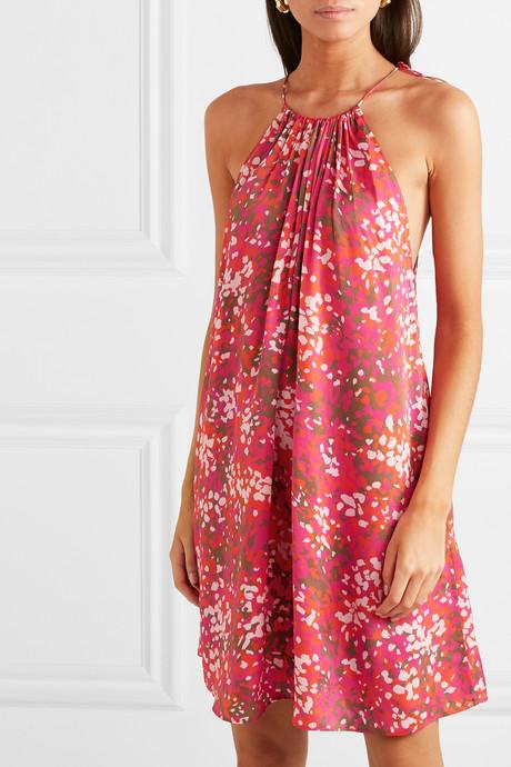 + NET SUSTAIN tie-detailed printed hammered-satin halterneck mini dress