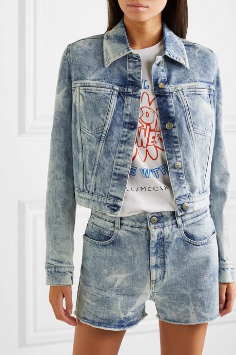 + NET SUSTAIN embroidered distressed denim jacket
