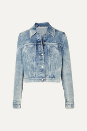 Stella McCartney + NET SUSTAIN embroidered distressed denim jacket