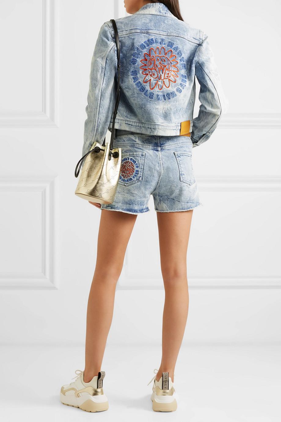 Stella McCartney + NET SUSTAIN embroidered distressed denim jacket