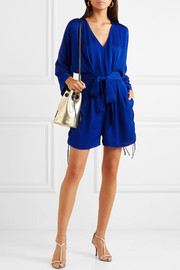+ NET SUSTAIN belted crepe playsuit