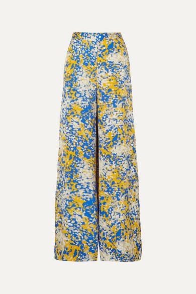Stella Mccartney Net Sustain Printed Crepe Wide-Leg Pants In Blue