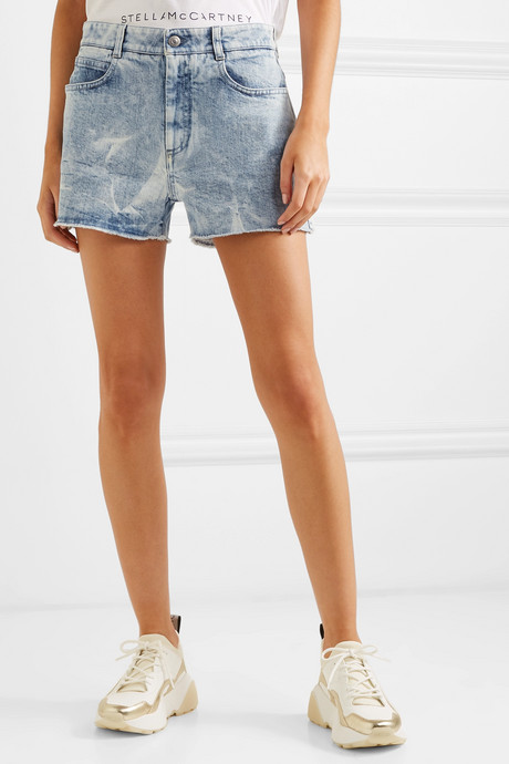 + NET SUSTAIN embroidered distressed denim shorts