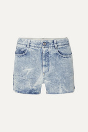 Stella McCartney + NET SUSTAIN embroidered distressed denim shorts