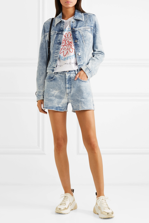 Stella McCartney + NET SUSTAIN embroidered distressed denim shorts